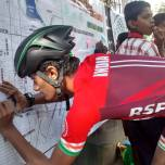 A young skater participating in the community mapping exercise during Malleshwaram Cycle Day